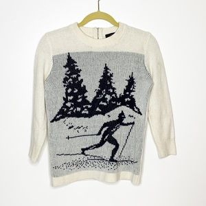 J Crew 100% wool skier holiday sweater w/ 1/4 zip